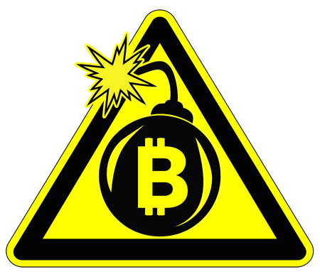 Caution Risky Bitcoin Investment. Warning sign for possible cryptocurrency crash Stock Photo
