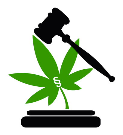 Legality of cannabis. Concept sign for marijuana laws, to make the use of weed legal or illegal Stock Photo