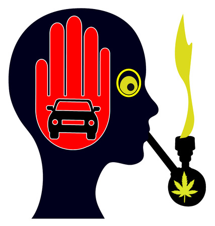Pot Smoking and Driving. Stoned woman does not drive a car by law Stock Photo