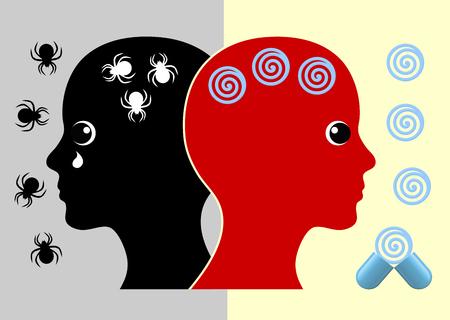 Panic Disorder Medication. Woman taking pills to stop phobic panic attacks