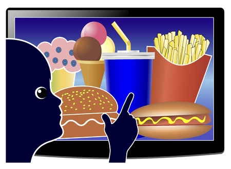 Screen Time Affects Junk Food Consumption. Child watching while eating TV due to food advertisements at kids