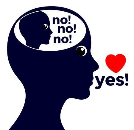 Autoengaño o mentirse a uno mismo. La mujer lee para sí misma, la voz interior dice categóricamente no, pero en realidad quiere decir sí