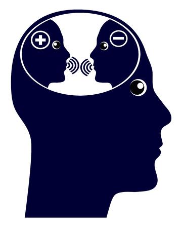Auto conversación o voz interior. La charla interna en el cerebro con pensamientos negativos y positivos. Foto de archivo