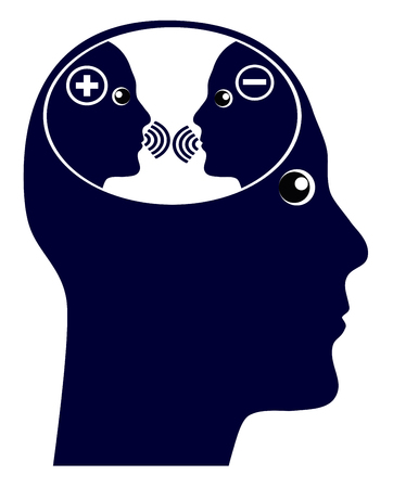 Selbstgespräch oder innere Stimme. Das innere Geschwätz im Gehirn mit negativen und positiven Gedanken Standard-Bild