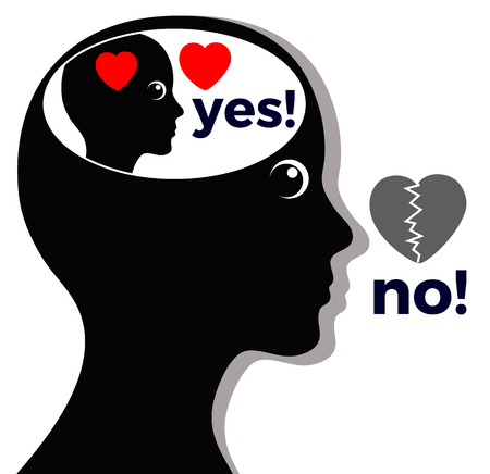 Woman says No where she means Yes. Concept of self-deception or lying to oneself Stock Photo