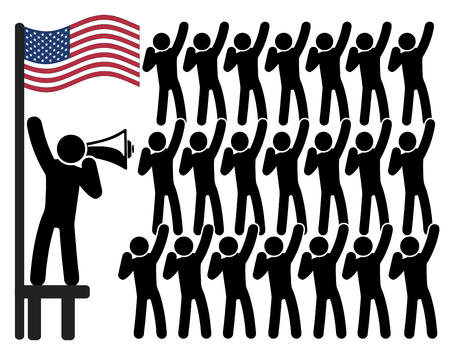 American patriotism. Concept sign of political leader and his followers Stock Photo
