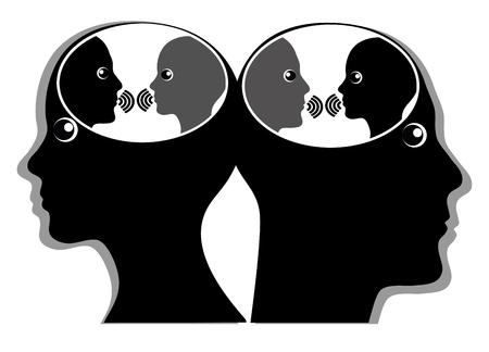 Intern discours of innerlijke dialoog. Man en vrouw communiceren met hun innerlijke stem in hun hoofd Stockfoto - 97666230