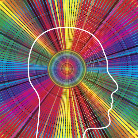 Ley de la atracción. Fuerte personalidad irradia energía positiva. Foto de archivo