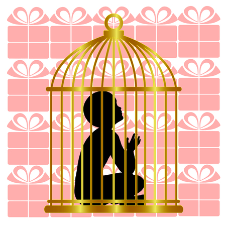 Child living in a gilded cage. Kid lives in luxury and lonely without freedom