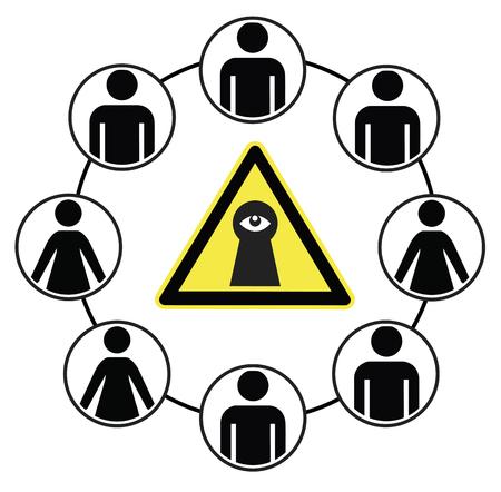 Social Media Spy. Caution spied use social media data for surveillance Stock Photo