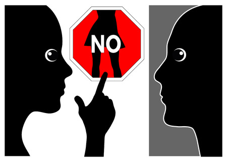 No to sexual assault and intimidation. Woman firmly says to unwanted behavior of man Stock Photo
