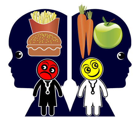 Creating healthy eating habits. Doctors teach children about dietary patterns and eating behavior Standard-Bild