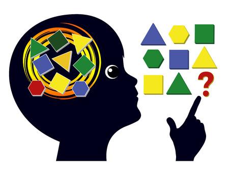 Juegos mentales para niños. Entrenamiento cerebral en la educación infantil para agudizar la mente Foto de archivo