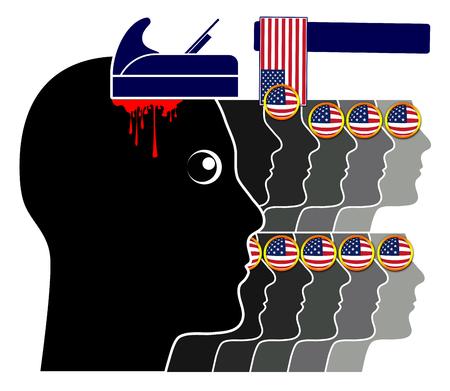 Blind patriotism in America. Satiric symbol for brainwashed patriots in the United States