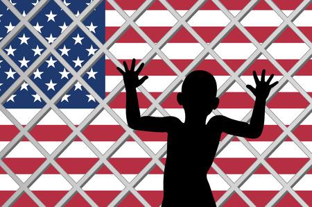 Amerikanische Einwanderungsgesetze. Kinder mit Migrationshintergrund werden von ihren Eltern getrennt Standard-Bild