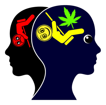 Cannabis for Recreation. Woman experiences complete mood swing through the consumption of recreational marijuana