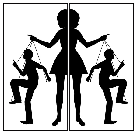 Controlling Wife. Domineering woman and passive man in a abusive relationship