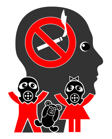 Stop smoking in front of kids. Inhaling second hand smoke harms the health of youngsters