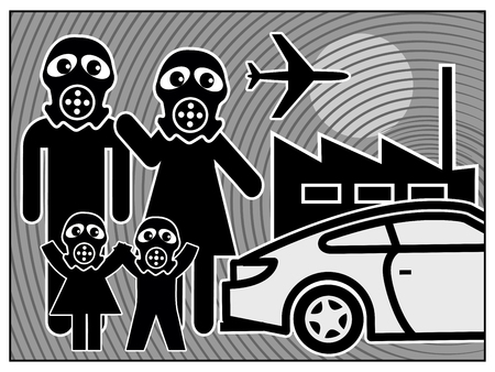 Air pollution harms family. Smog alarm in big cities due to car and air traffic and industries