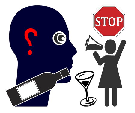 Alcoholism and marital conflicts. Wife demands that her husband stops excessive drinking Reklamní fotografie - 117586527