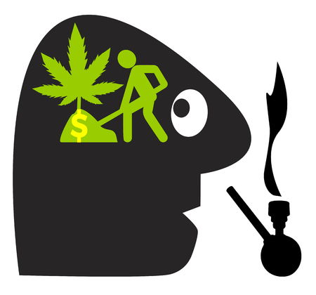 Growing your own cannabis. Caricature of drug addict with the vision to make business as weed farmer
