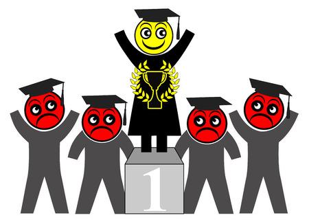 Female students outperform males. Women perform better than men when it comes to academic achievements Reklamní fotografie - 120531958