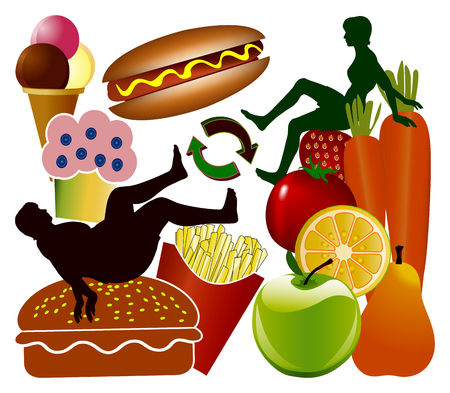 Woman can chose between health and junk food for weight control. Imagens