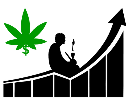 Promising profits in cannabis. Humorous concept sign of pot smoker who invests in the marijuana business