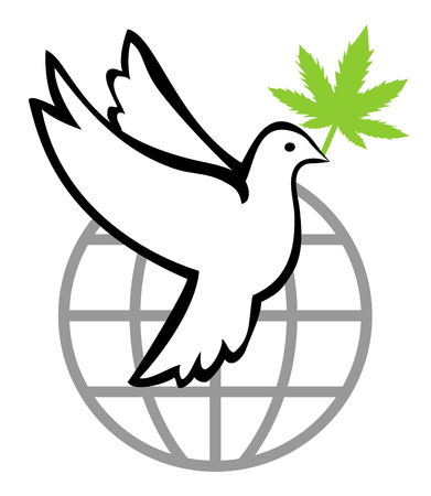 Cannabis for a peaceful world. The legalization of marijuana helps keep the peace worldwide Reklamní fotografie - 120531969