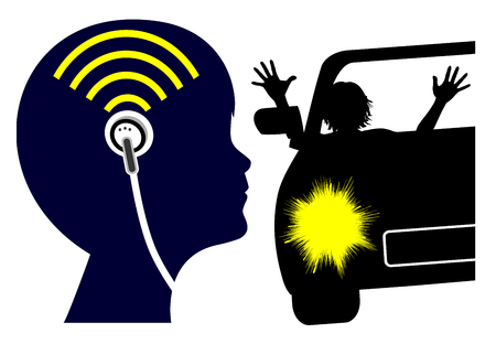 Ear buds can endanger life. Child does not pay attention to traffic while listening, which is dangerous Reklamní fotografie - 120531970