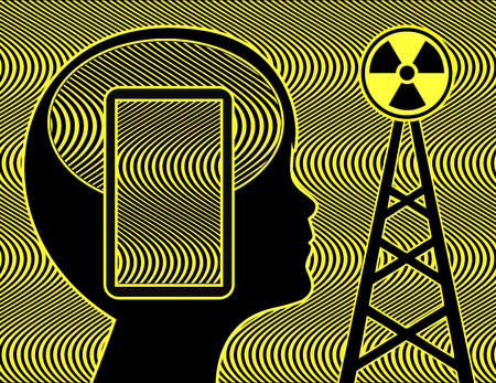 Kid exposed to cellphone radiation. Health risk for young people due to electric and magnetic field emission of the cellphone transmission mast