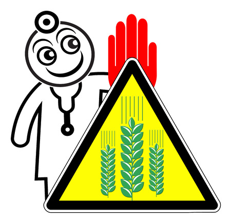 Avoid wheat products. Doctor warning people with gluten intolerance not eating wheat-based foodstuff Imagens