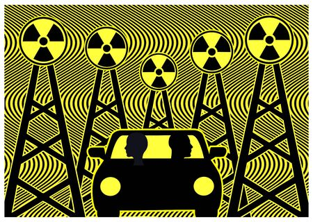 5G and autonomous driving. The new technology unleashes the potential of self-driving vehicles but emits un-healthy radiation Reklamní fotografie - 128543277