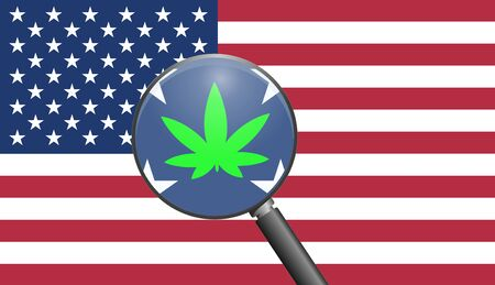 USA and the cannabis industry. Symbol for the growing marijuana business in the United States after the legalization