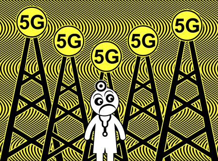 5G Radiation danger. Exposure to electromagnetic frequencies may cause severe health problems according to medical scientists Reklamní fotografie - 128543290