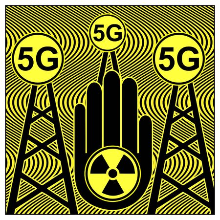 Stop 5G Technology. Warning sign, RF radiation is harmful to humans and the environment