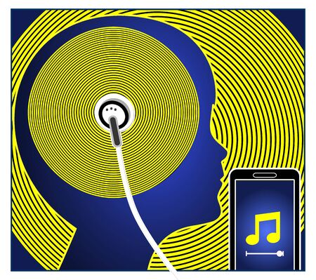 Child and smartphone music apps. Teen is listening to his favorite songs with ear buds Banco de Imagens
