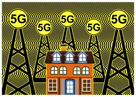 Smart homes are exposed to harmful FM radiation from cell towers according to scientists Reklamní fotografie - 128543328