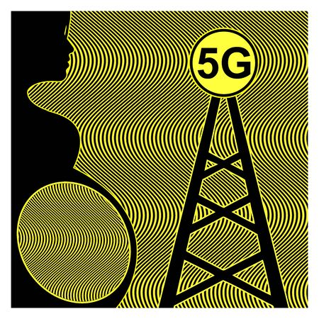 5G and Pregnancy. Pregnant woman and unborn baby are exposed to harmful FM radiation of cell tower Banco de Imagens
