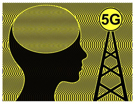 Health risk due to 5G radiation. Woman exposed to radiofrequency radiation from cell tower with negative impact on the brain Reklamní fotografie - 128543389