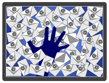 Criminals hacking emails. Concept sign of unauthorized access to e-mail account stealing confidential information