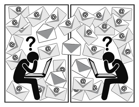Confusing email traffic. The daily flood of messages at work is frustrating and time consuming Banque d'images