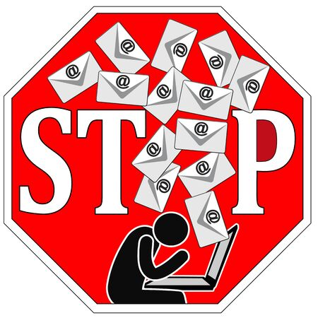 Stop writing emails. Directive to communicate with text messages or memos with via computer and internet Banque d'images
