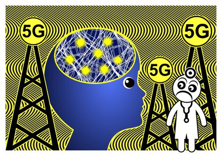 Lunacy and the full moon. 5G technology affects the brain. The thinkable impact of electromagnetic waves on diseases like epilepsy and ADHD in children Banque d'images