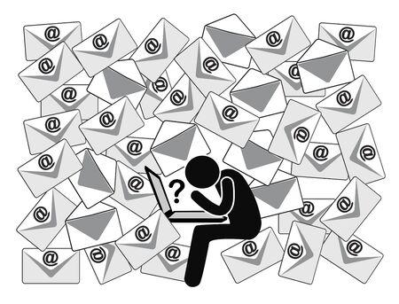 Muchos correos electrónicos con preguntas abiertas. La persona de la oficina se confunde con la gran cantidad de mensajes diarios en el trabajo