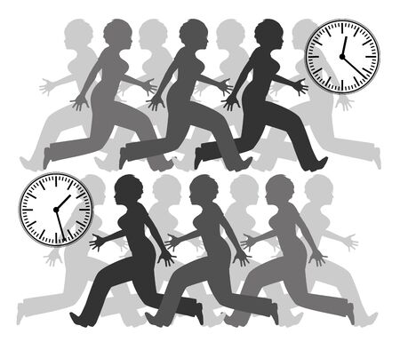 Run against the time. Woman being stressed by the clock at home or at work