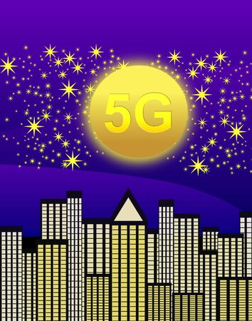 Smart cities with 5G technology. In the future of wireless technologies monitor wants the life of everybody