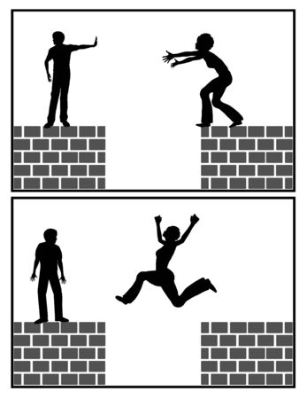 Self help strategy. Woman jumps over the gap without the help of a man, concept for female empowerment and self-care. Banque d'images