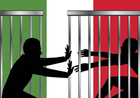 Italy opens border for asylum seekers. Refugees are allowed and welcome to enter the Italy border. Banque d'images