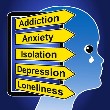 There are negative effects like addiction, loneliness, anxiety, isolation and depression in early childhood Banque d'images